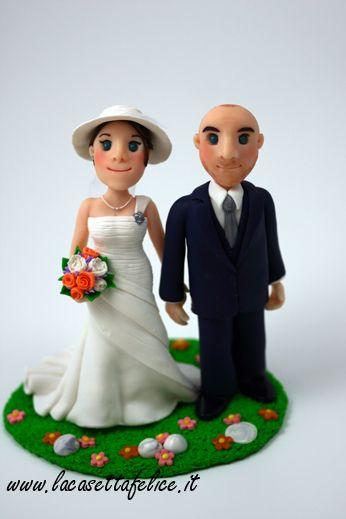 sposi su torta realizzati a mano